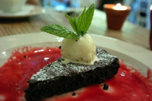Beetroot & chocolate cake, red velvet syrup, ice cream_14758837659_l