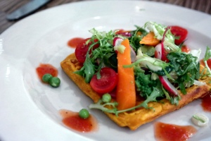 Sweet potato waffle, raw & cooked vegetable salad_14945535505_l