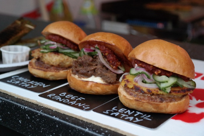 The slider trio - Chicken Satay, Beef Redang, Lentil Satay