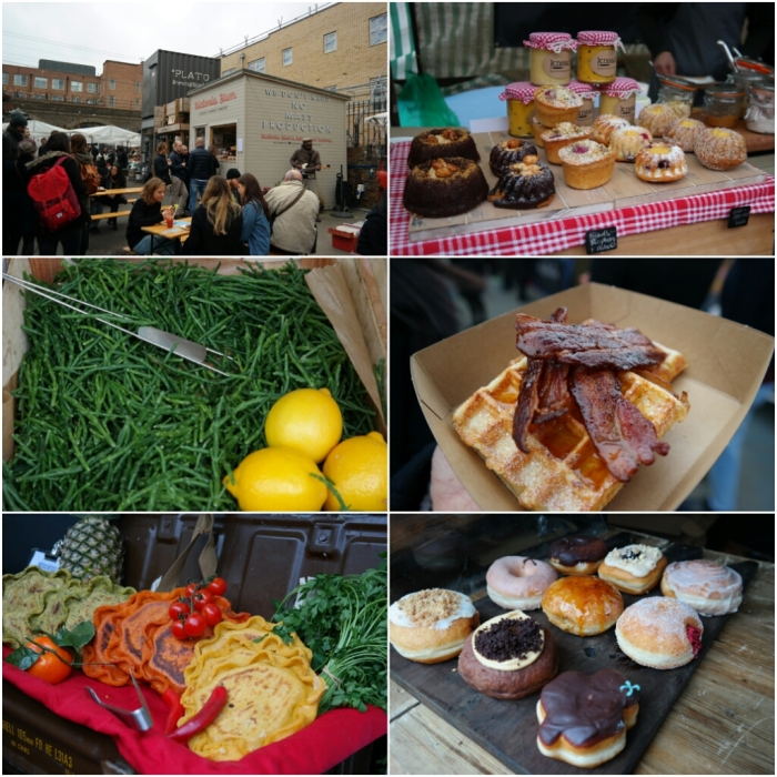 Variety of street food and produce at Netil Market and Broadway Market