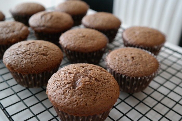 Chocolate cupcakes cooling on the wire rack