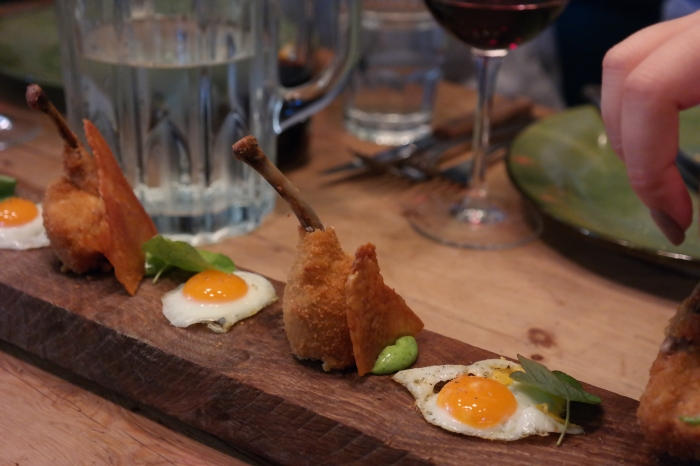 Chicken lollies and mini fried eggs